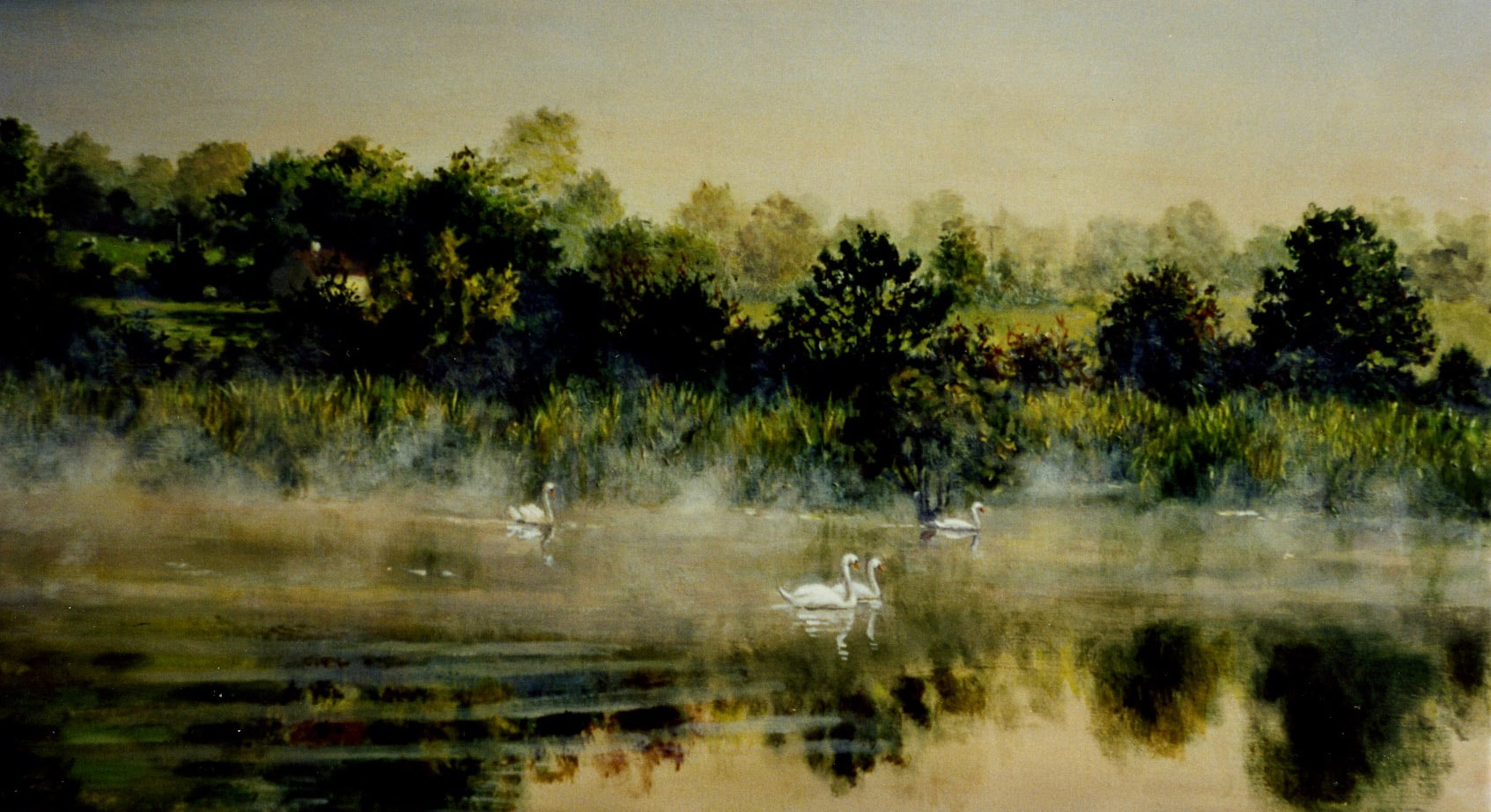 Two Swans on the Bandon River 1987 Oil on Panel 16 x 20