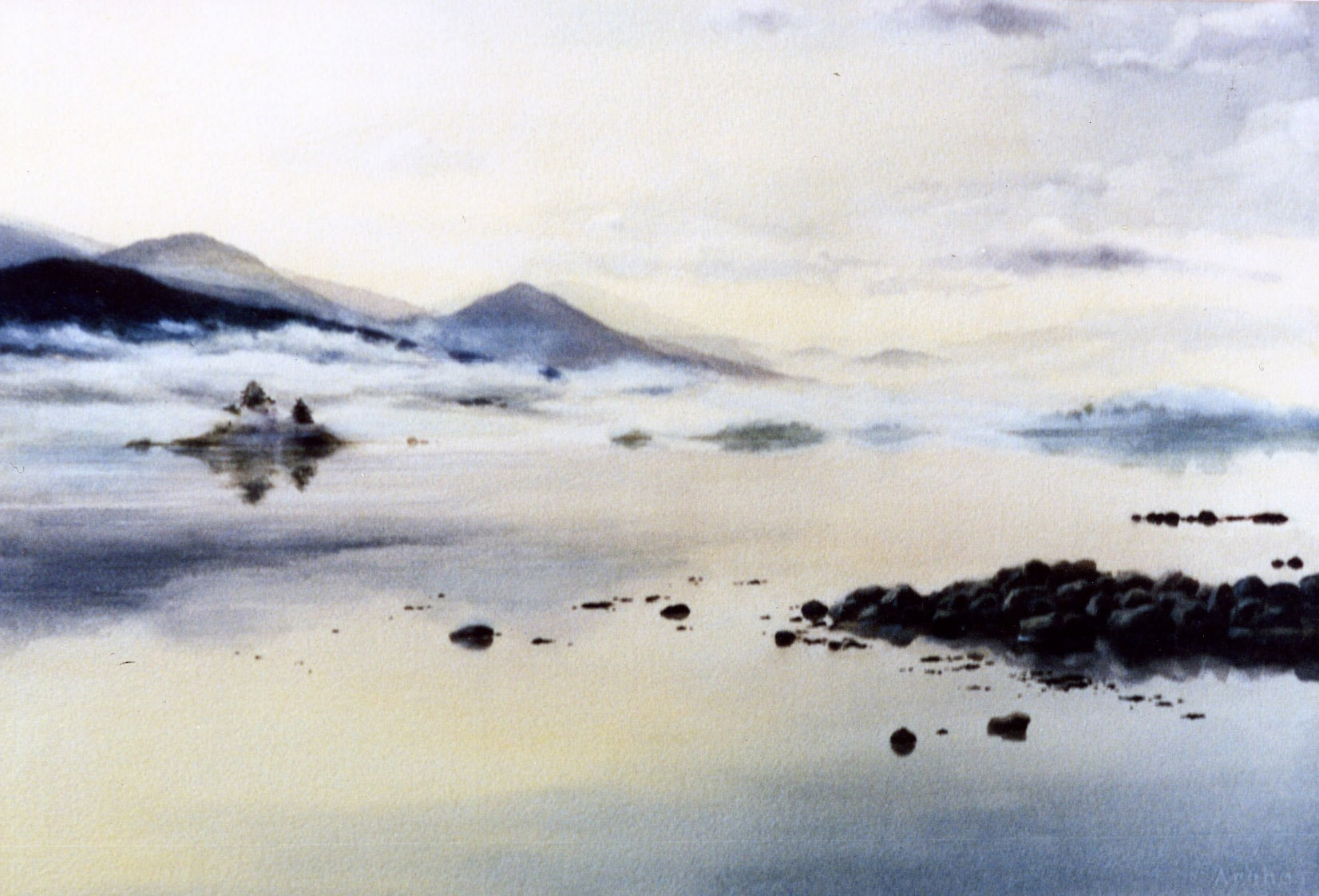 Glory of God (Place Where God Lives) Clu Bay 1984 Full Sheet Watercolor 20 x 29