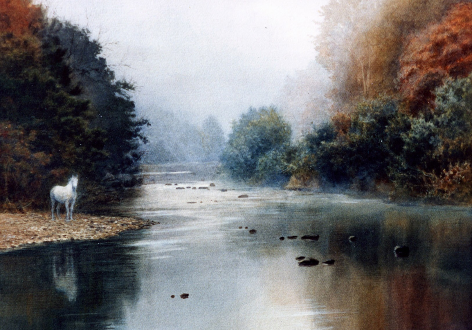 Horse in the Mist (River Bandon) 1987 Oil on Panel 14 x 18