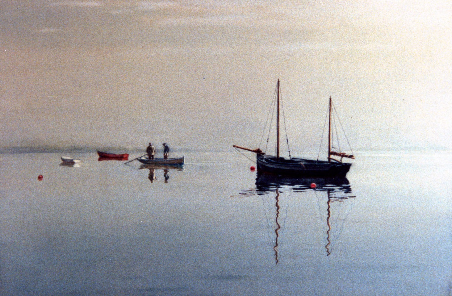 Boats in the Mist 1992 Watercolor 18 x 22